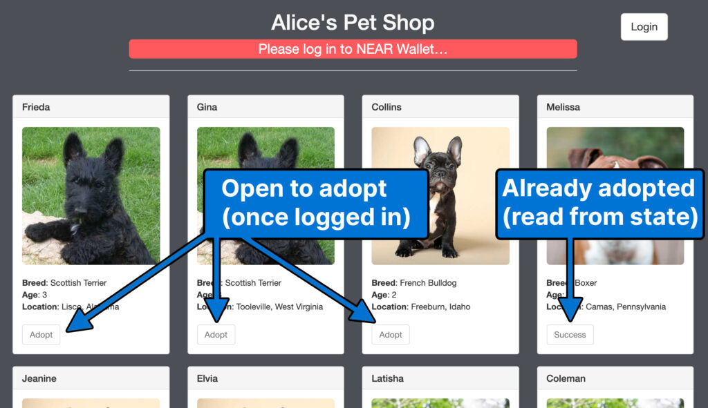 At the top of the NEAR Pet Shop there are three dogs open for adoption and one that's already adopted. The user has not logged in yet