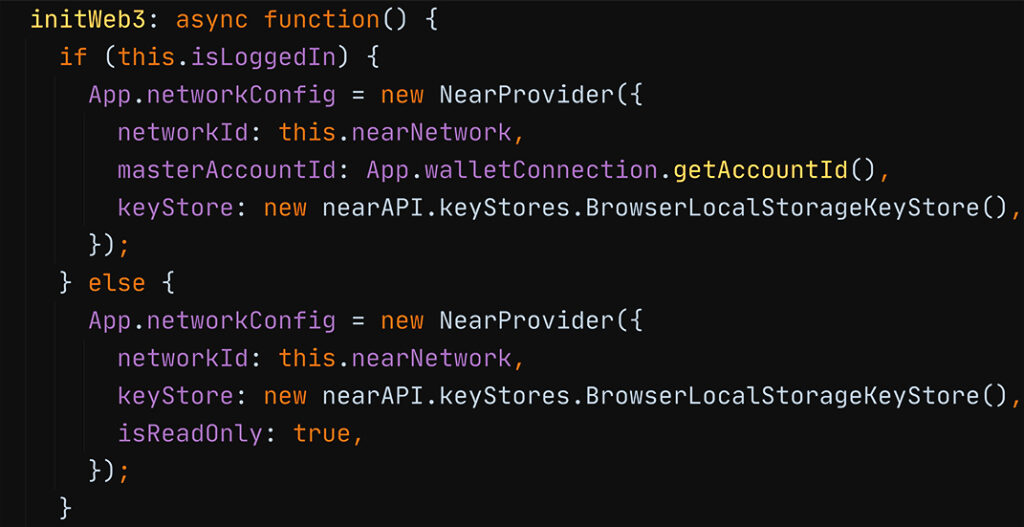 Snippet from NEAR Pet Shop showing the instantiation of the NearProvider in read-only mode, also using browser's local storage as the key store