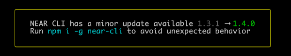 NEAR CLI detects a new version